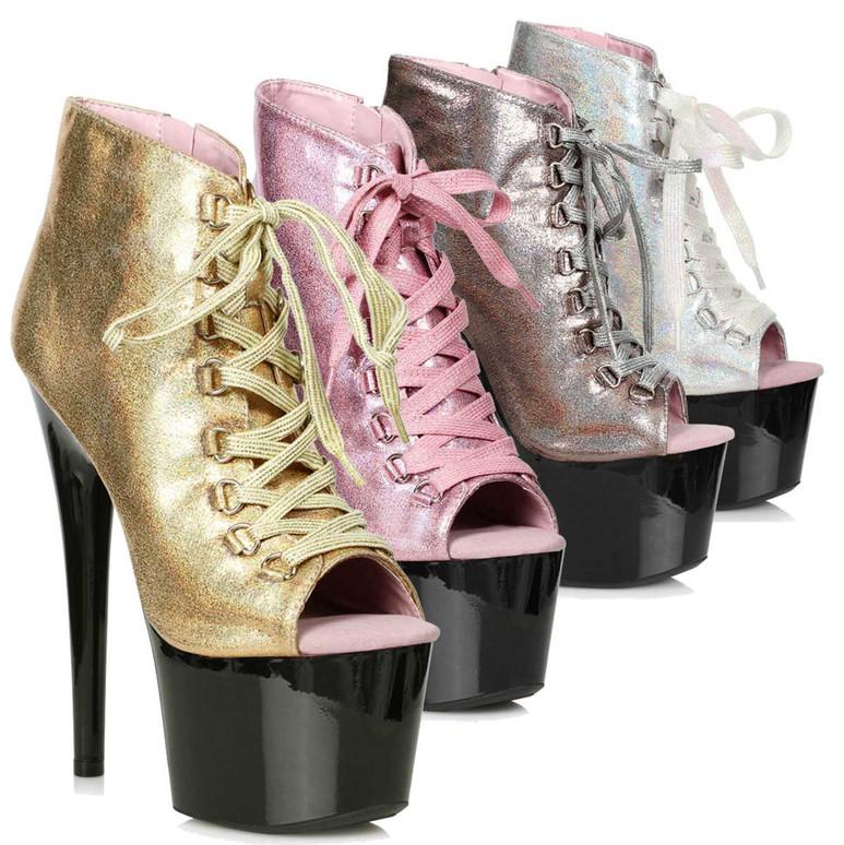 Ellie   709-Zaylee, 7 Inch Peeptoe Shimmer Dancer Boots