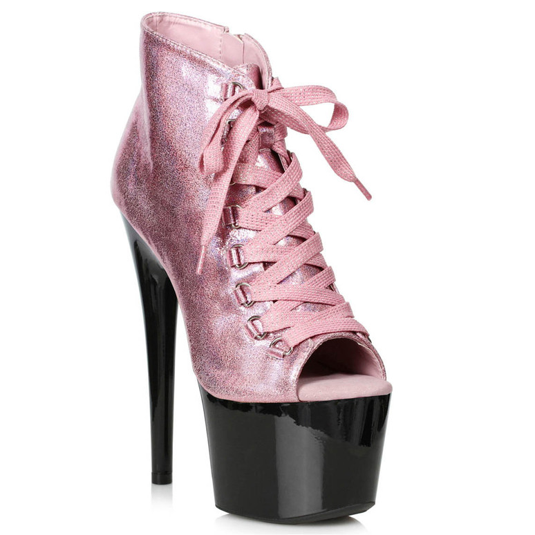 709-Zaylee, 7 Inch Peeptoe Pink Shimmer Dancer Boots by Ellie shoes