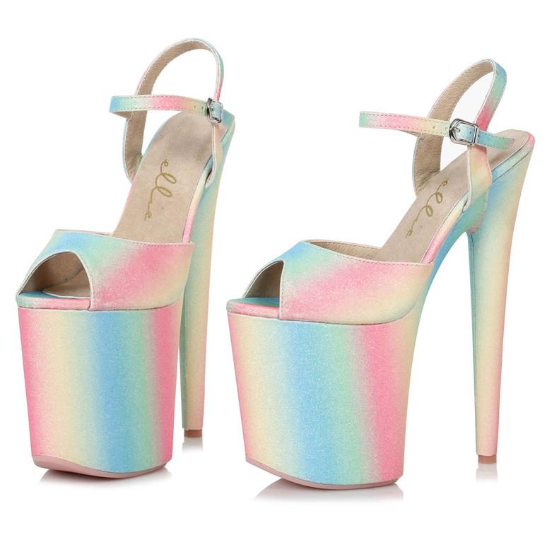 Ellie Shoes | 850-Bubble, 8 Inch Glitter Platform Sandal
