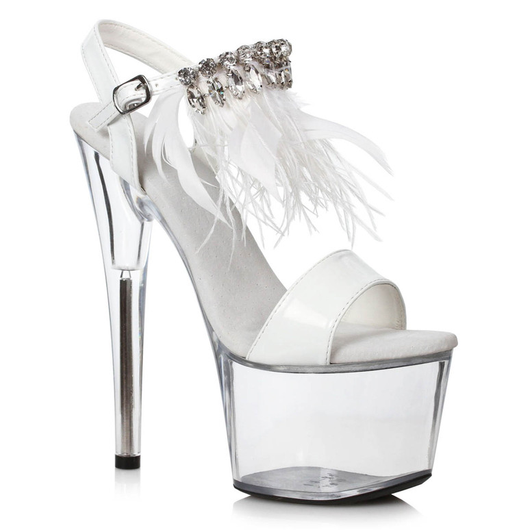 709-Zahra, White/Clear 7 Inch with Rhinestones and Feathers by Ellie Shoes
