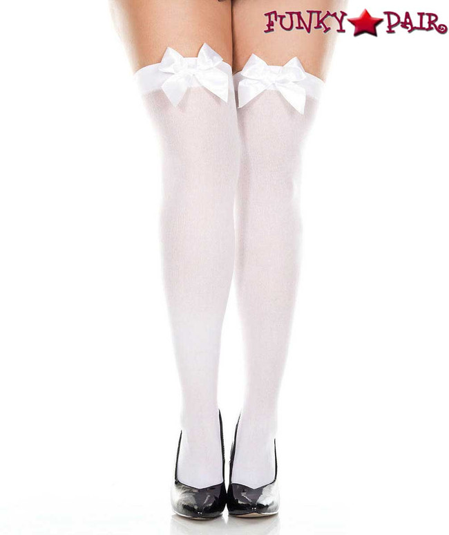 ML-4742Q, Plus Size White Satin Bow Opaque Thigh High Stocking by Music Legs