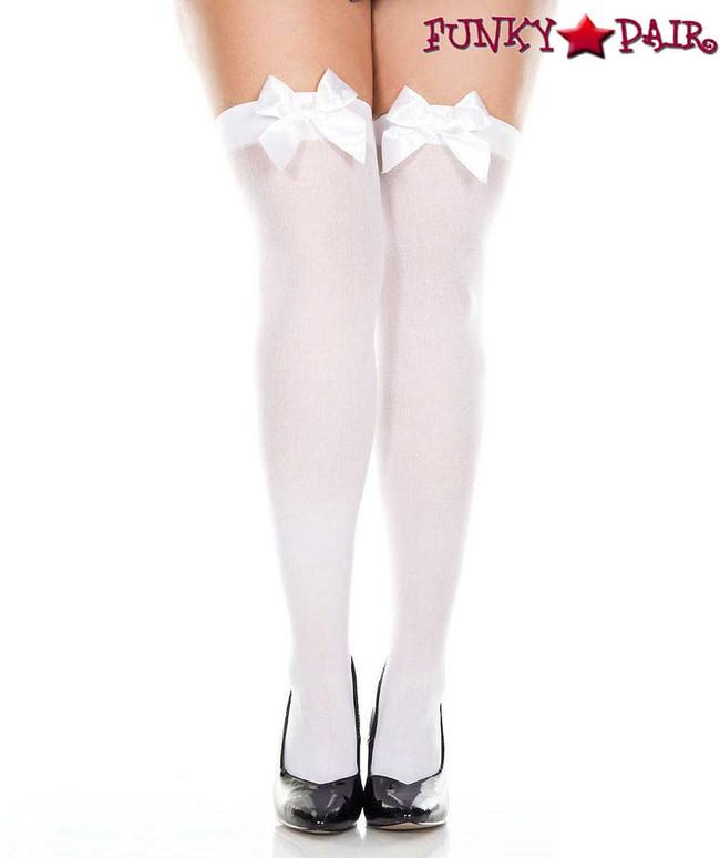 ML-4742Q, Plus Size White Satin Bow Opaque Thigh High Stocking by Music Legs
