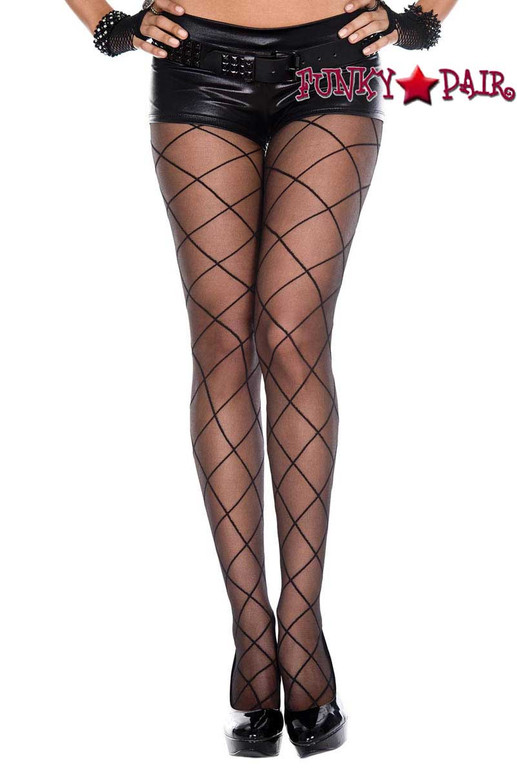 ML-7143, Criss Cross Sheer Pantyhose by Music legs
