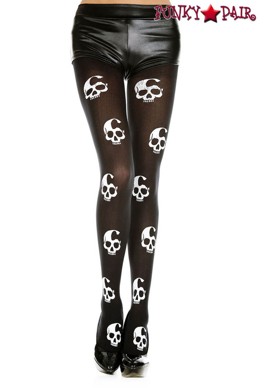 Music Legs ML-37349, Skull Print Tights
