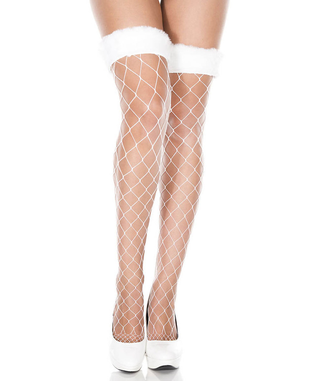 ML-4929 Faux Fur Fishnet Thigh High Stockings by Music Legs