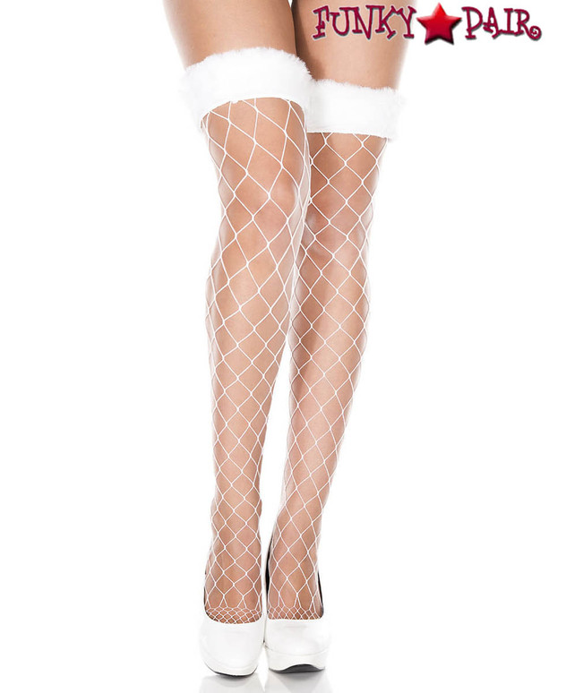 Music Legs | ML-4929 Faux Fur Fishnet Thigh High Stockings