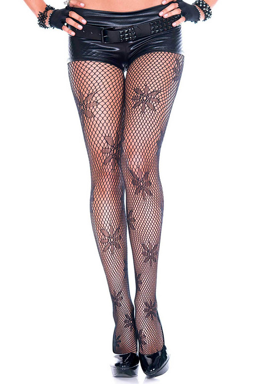 Flower Design Pantyhose, by Music Legs ML-50022