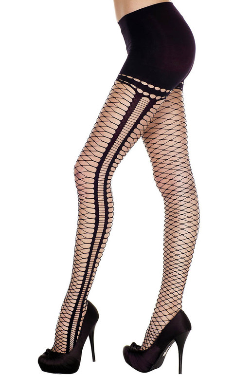 Mini Diamond Net Oval Cutout Pantyhose by Music Legs ML-7193