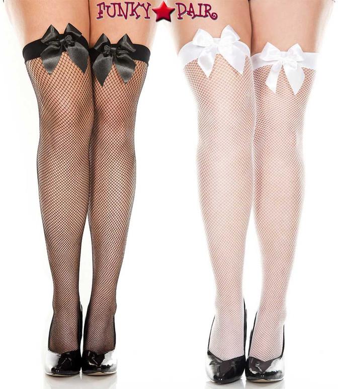 Music Legs 4912Q, Plus Size Satin Bow Fishnet Thigh High Stockings
