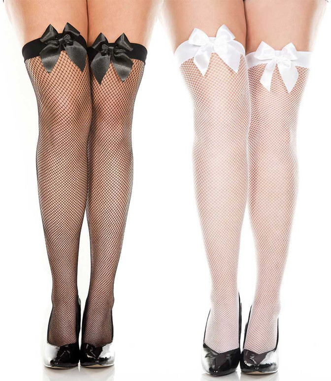 Plus Size Satin Bow Fishnet Thigh High Stockings by Music Legs 4912Q
