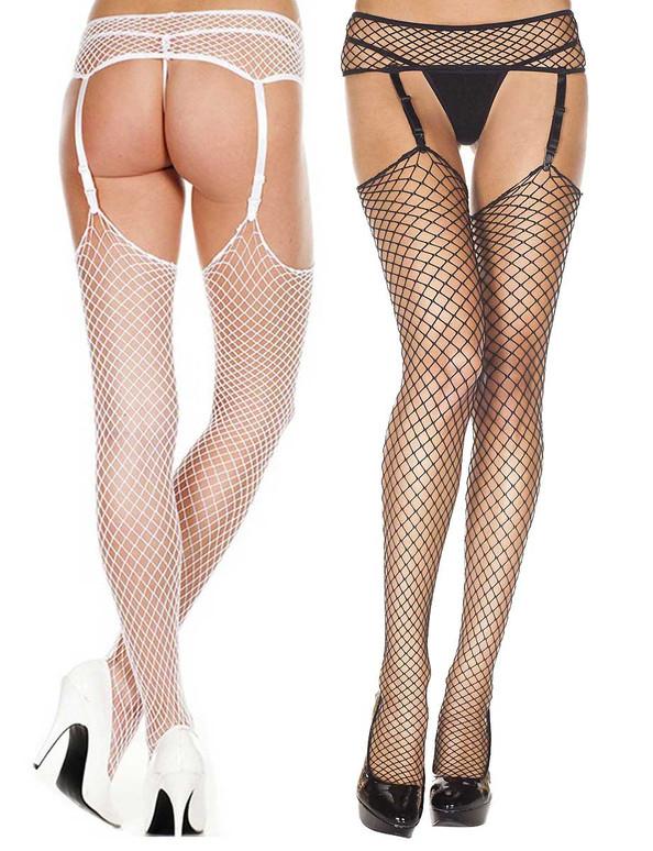 Diamond Net Garterbelt Stockings by Music Legs ML-7832