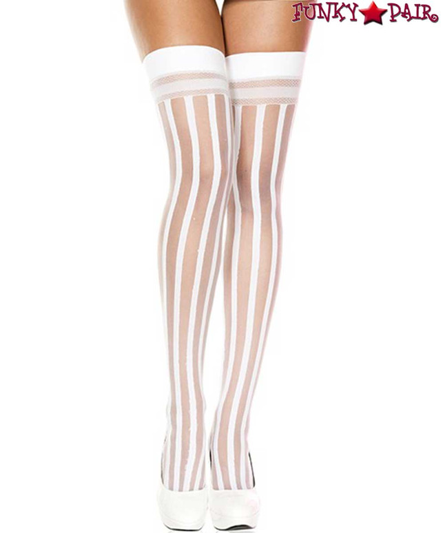 ML-4756, White Vertical Striped Thigh High Stocking by Music Legs