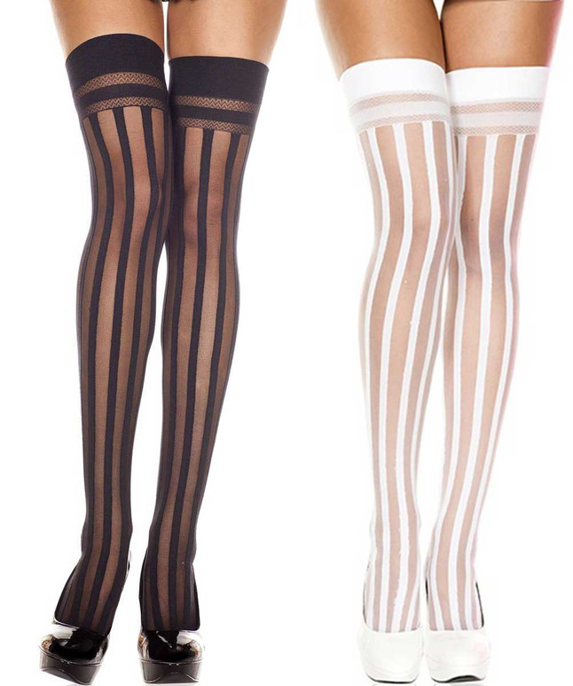 Vertical Striped Thigh High Stocking by Music Legs ML-4756
