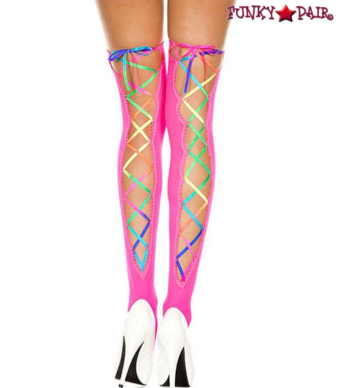 ML-4210, Rainbow Ribbon Lacing Neon Pink Stockings by Music Legs