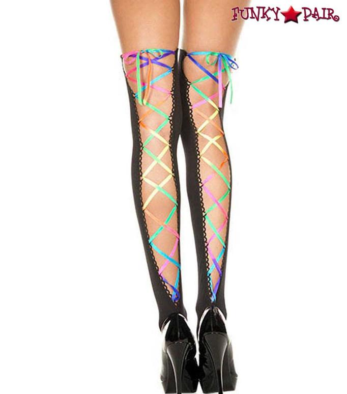 ML-4210, Rainbow Ribbon Lacing Black Stockings by Music Legs