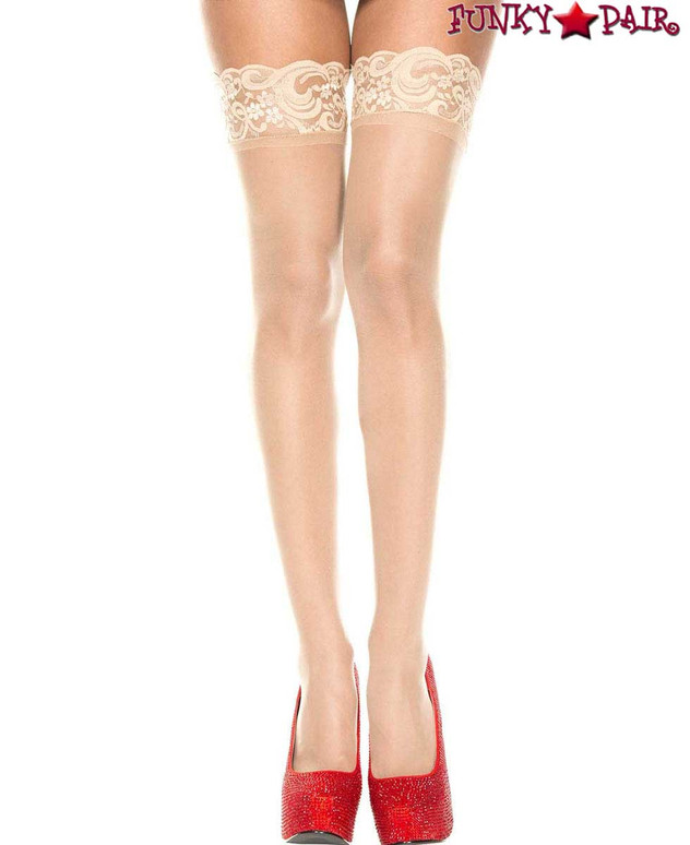 ML-4139, Silicone Beige Lace Up Sheer Stockings by Music Legs