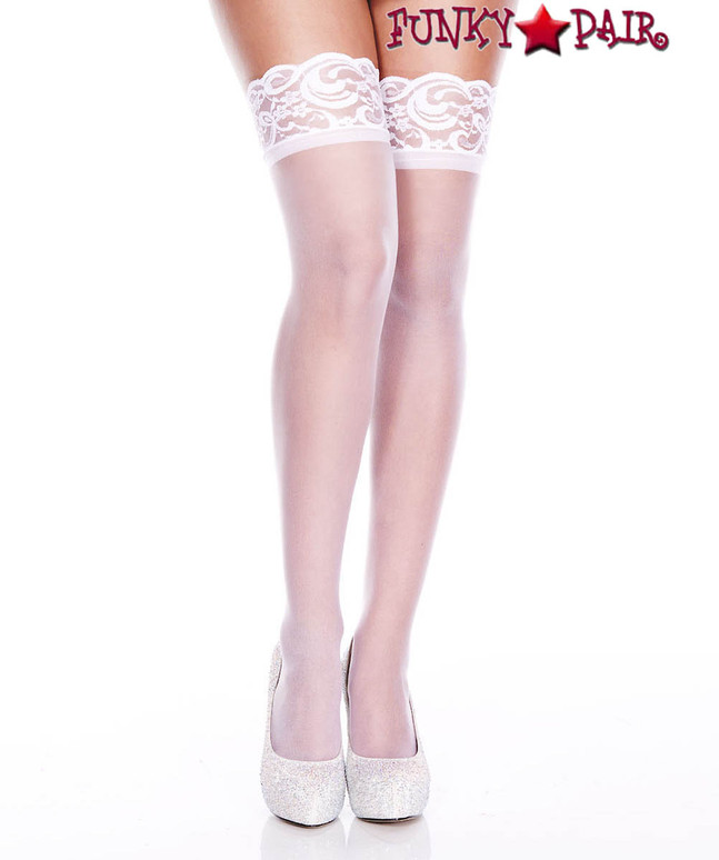 ML-4139, Silicone Lace Up Sheer White Stockings by Music Legs