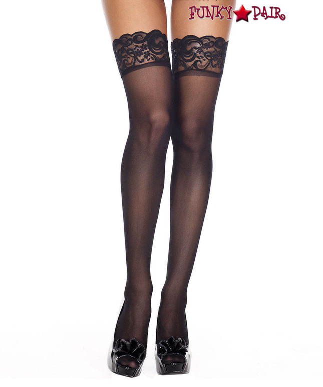 ML-4139, Black Silicone Lace Up Sheer Stockings by Music Legs