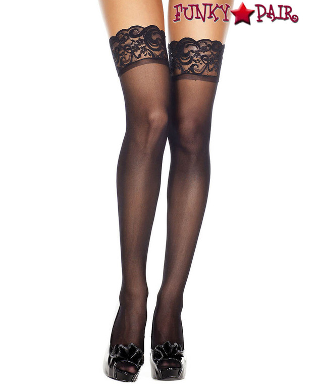 Black Sheer Lace Top Stockings by Music Legs | ML-4110