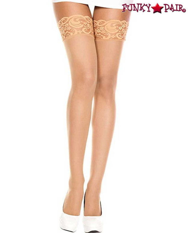 ML-4110, Sheer Lace Top Beige Stockings by Music Legs