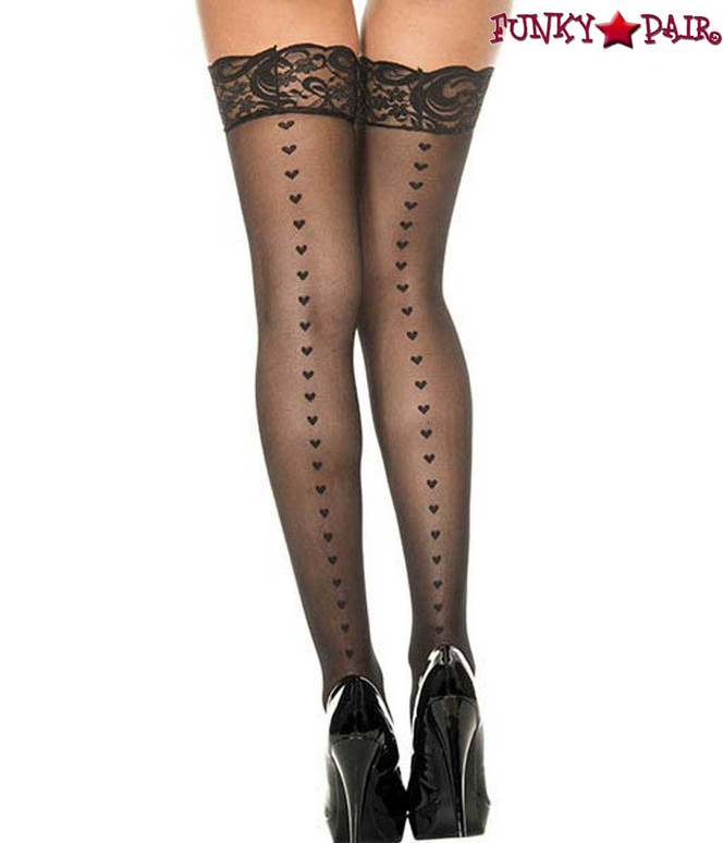 ML-4239, Heart Backseam Black Stockings by Music Legs