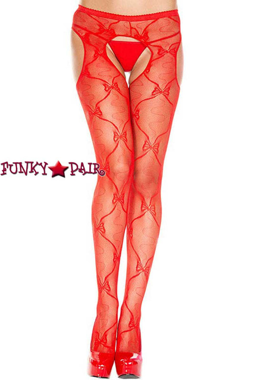 Red Bow Lace Suspender Pantyhose by Music Legs ML-933