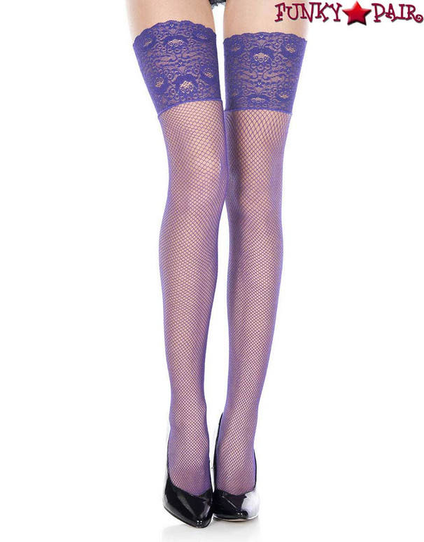 ML-4920,  Wide Lace Purple Fishnet Stockings by Music Legs