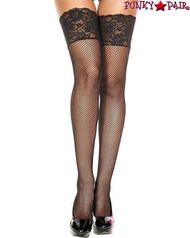Wide Lace Black Fishnet Stockings by Music Legs ML-4920