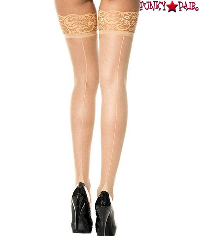 Lace Top Beige Thigh High Stocking with Back Seam by Music Legs | ML-4119