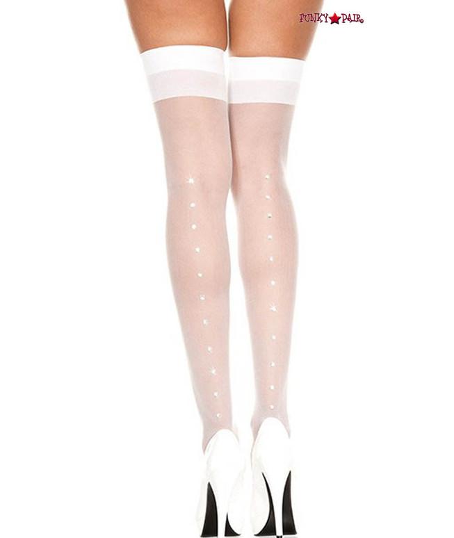 Music Legs  ML-4143, Rhinestones White Sheer Stockings