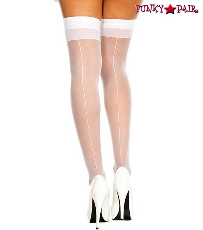 Backseam Sheer White Stockings by Music Legs ML-4102
