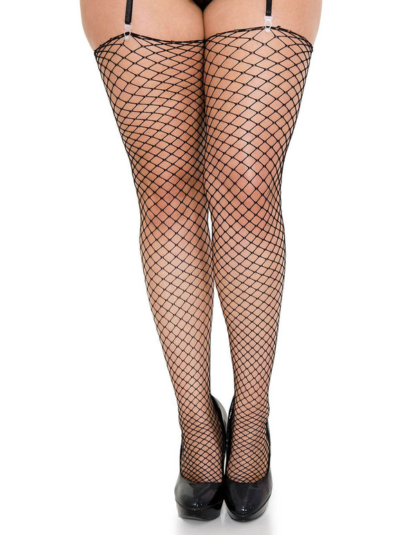 Plus Size Diamond Net Black Thigh High Stockings, ML-4936Q