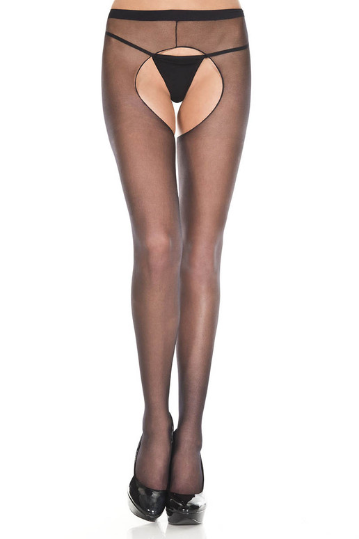 Sheer Crotchless Black Pantyhose by Music Legs | ML-801