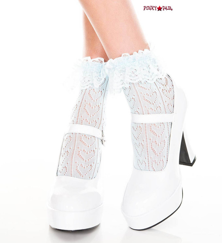 ML-515, Heart Net Design Ankle Sock by Music Legs color baby blue