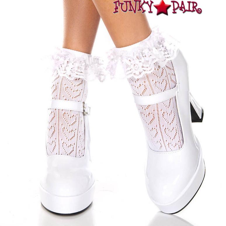 ML-515, Heart Net Design Ankle Sock by Music Legs color White