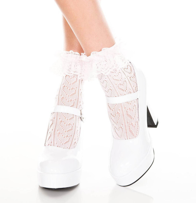 Music Legs | Heart Net Design Ankle Sock, ML-515 color Baby Pink