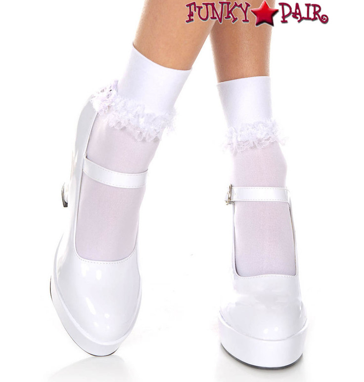 White Opaque Ankle High with Ruffle Trim by Mucis Legs ML-513