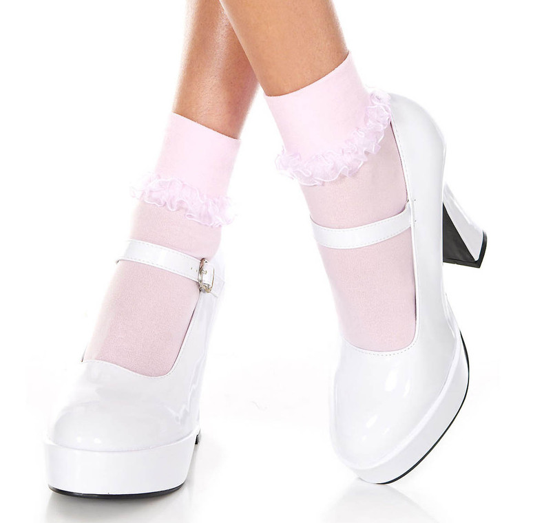 Music Legs | Baby Pink Ankle High with Ruffle Trim, ML-514