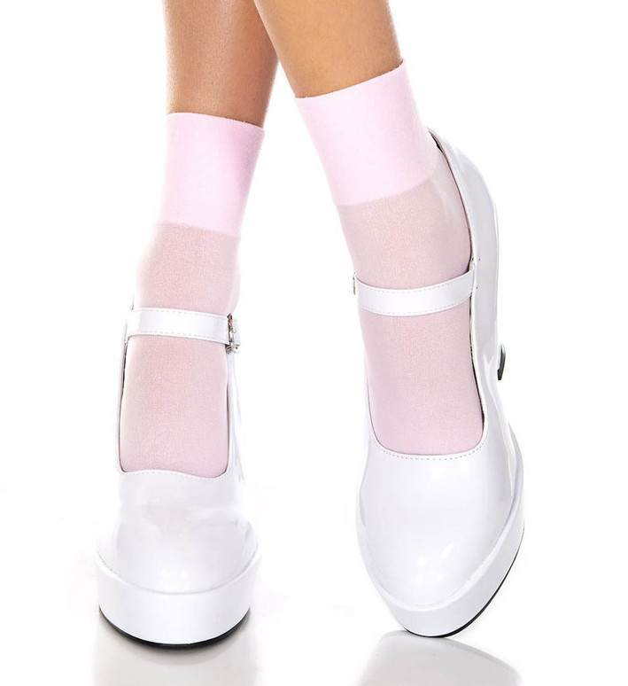 Baby Pink Opaque Ankle High by Music Legs ML-512