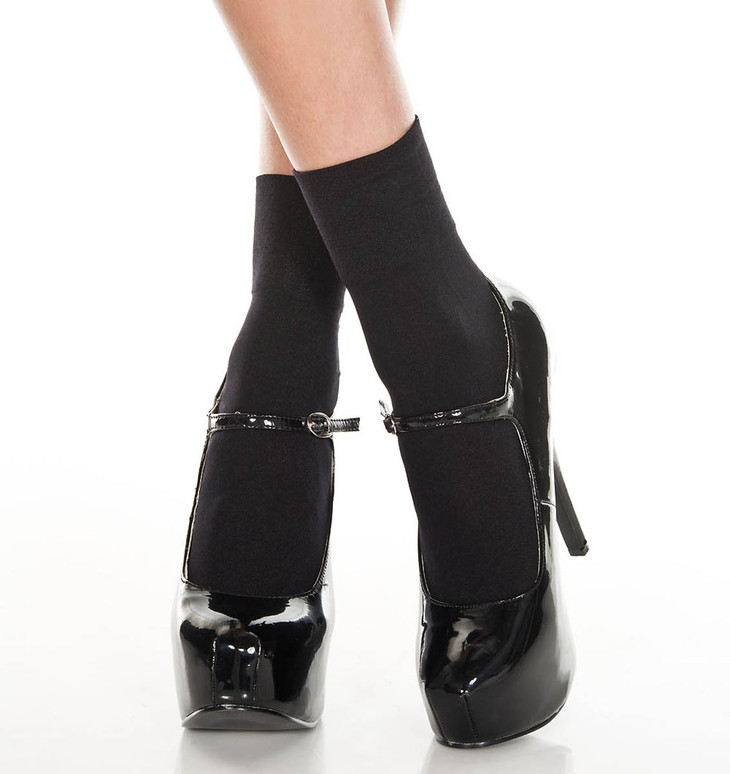 Black Opaque Ankle High by Music Legs ML-512