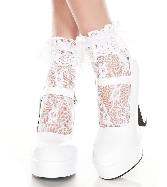 White Lace Ruffle Ankle High by Music Legs ML-574