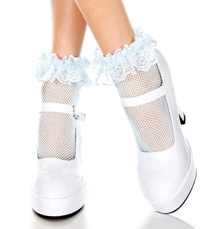 Baby Blue Fishnet Ankle High with Ruffle Trim by Music Legs ML-597