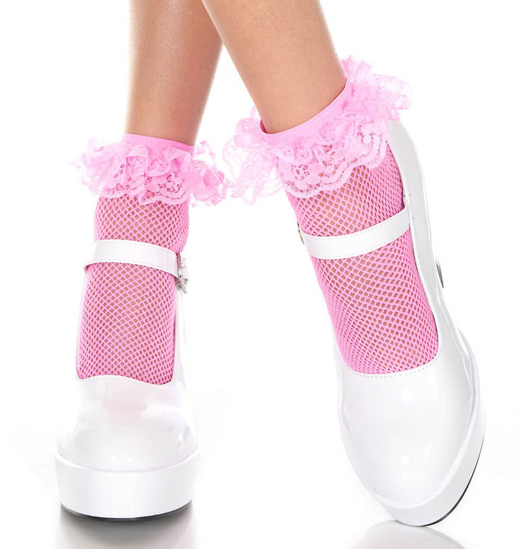 Neon Pink Fishnet Ankle High with Ruffle Trim by Music Legs ML-597