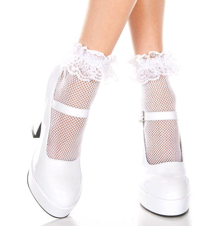 White Fishnet Ankle High with Ruffle Trim by Music Legs ML-597