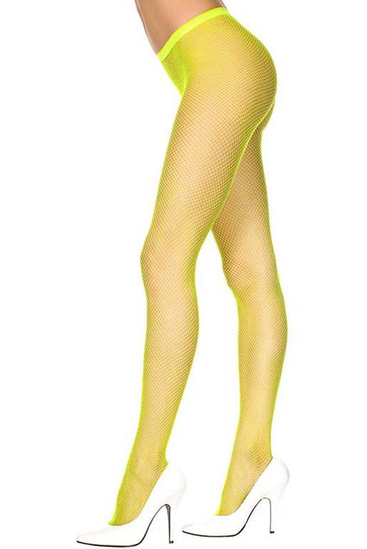 Neon Yellow Fishnet Pantyhose, by Music Legs ML-9001