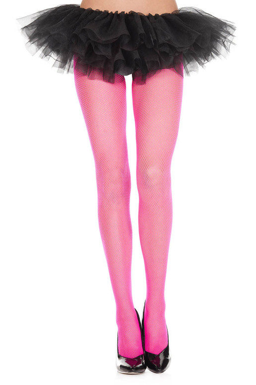 ML-9000, Hot Pink Fishnet Spandex Pantyhose by Music Legs