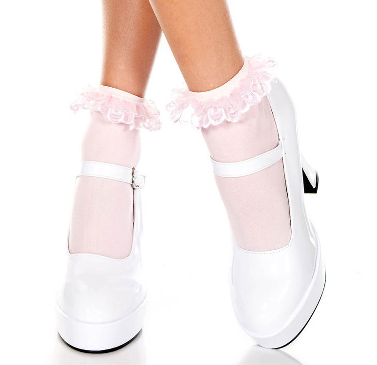 Baby Pink Opaque Anklet with Ruffled Lace by Music Legs ML-527