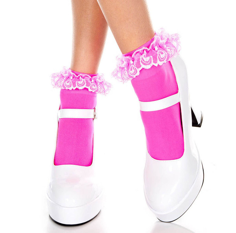 Music Legs   ML-527, Hot Pink Opaque Anklet with Ruffled Lace