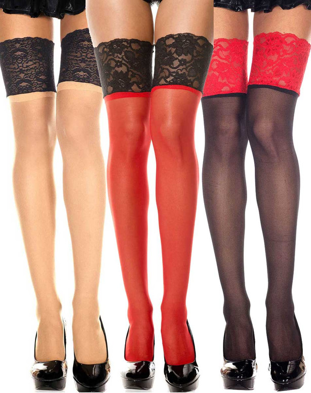 Music Legs | ML-4128 Sheer Thigh High Stocking with Contrast Top