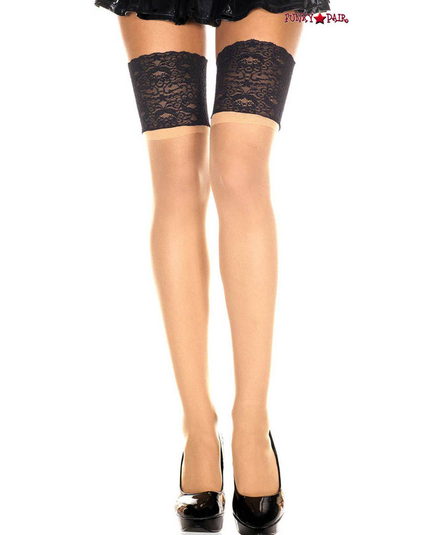 Sheer Thigh High Stocking with Contrast Top by Music Legs ML-4128 | color Beige/Black